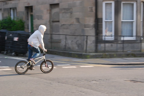 White hoodie and BMX