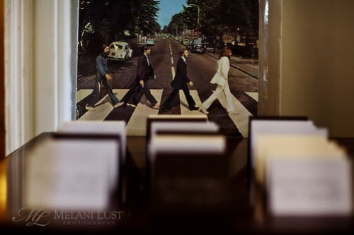 Beatles walk amongst place cards