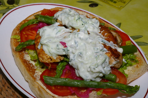 Griddled chicken on toasted pide bread by La belle dame sans souci