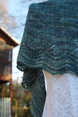 Hand knit shawl with beads in Malabrigo Sock