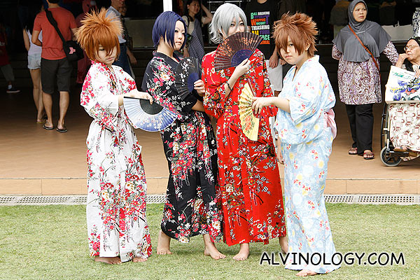 Group in Japanese robes