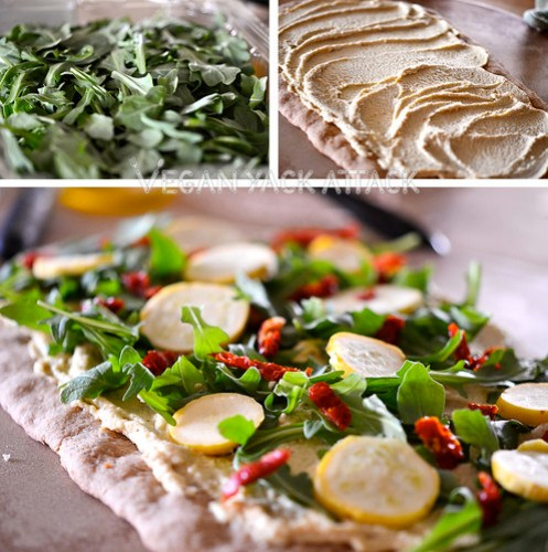 "This Rustic Arugula Flatbread makes for a great, savory entree, or a ""fancy"" appetizer to share with friends. The cashew spread is exquisite!"