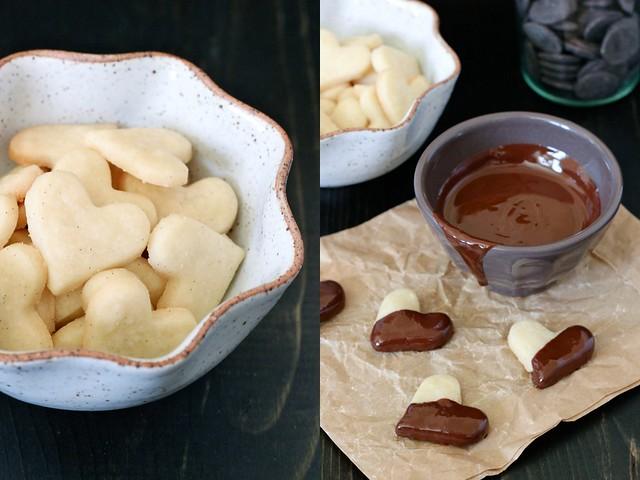 Chocolate dipped vanilla bean shortbread