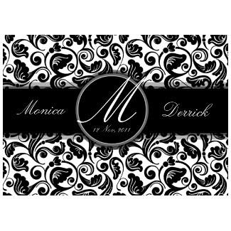 classic black white wedding invitation card by Kanjiz