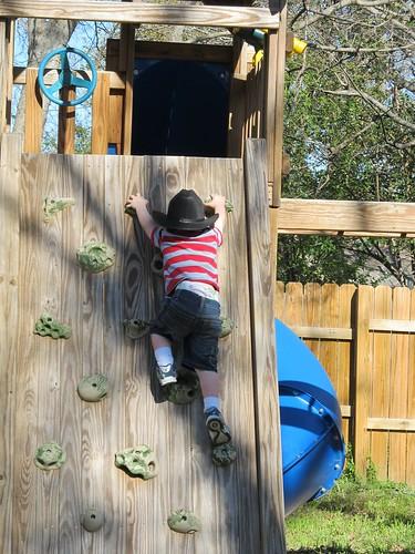 Rock Climbing on his Third Birthday