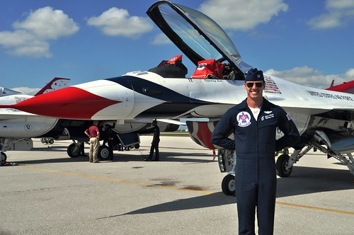 """Captain Jason """"Jaws"""" Curtis of USAF Thunderbirds at the Punta Gorda Airport in Preparation for the 2014 Florida International Air Show"""