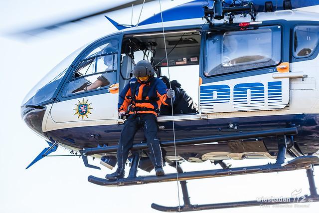 Übung Höhenretter Polizeihubschrauber Annweiler 02.04.14