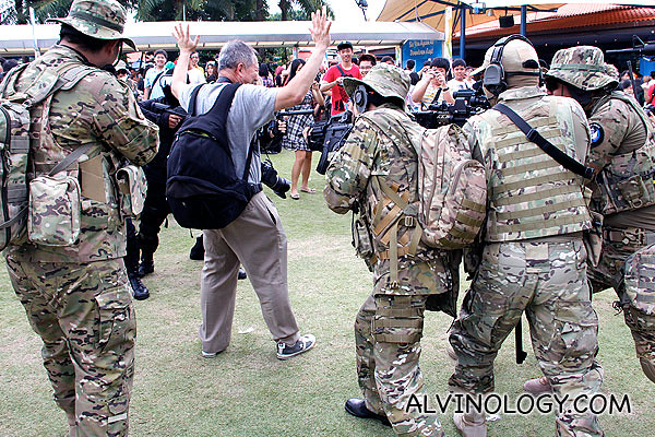 Soldiers ambushing an old man