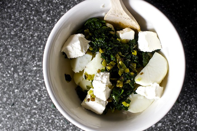 kale, leeks, cream cheese, red potatoes
