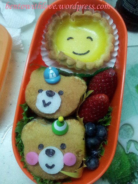 Brother and Sister Bear Bento for him (Was in a hurry, photo taken using phone)