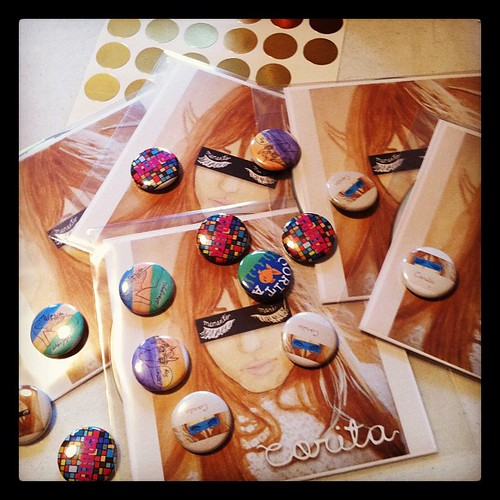 Corita CDs and buttons! Cover art by @wunderfemme