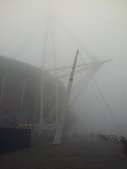 Foggy Millennium Stadium on St David's Day