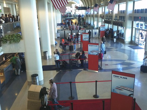 Looking Down on Premium Cabin Lobby
