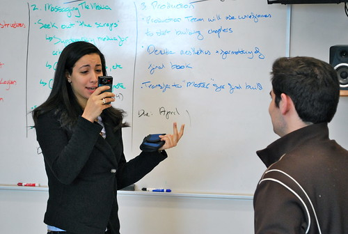 Alaa Yassin asks Matt Dusenbury the hard questions while filming an intro video for the Online Journalism project.