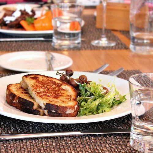 Grilled Comte Sandwich with Roasted Grapes and Frisee