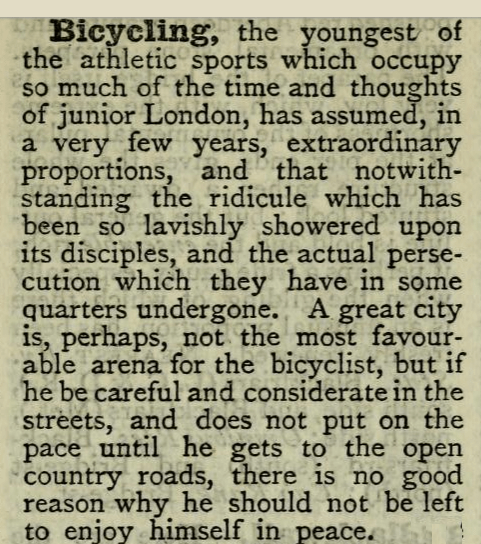 Dickens's Dictionary of London: BICYCLING excerpt.