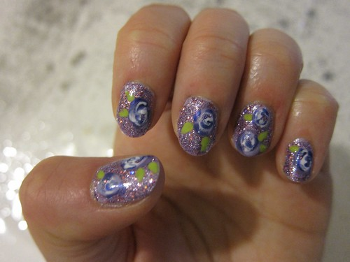 Purple Glitter/Purple Flower Nails