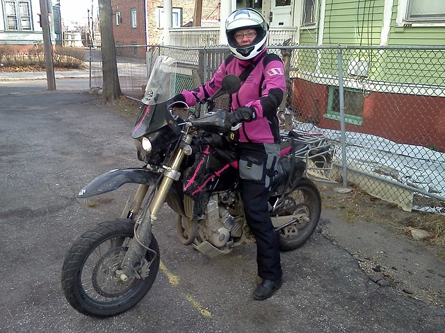 Sporting my new Rukka Julia jacket that matches my sweet Elsa, the DR-Z 400 SuperMoto
