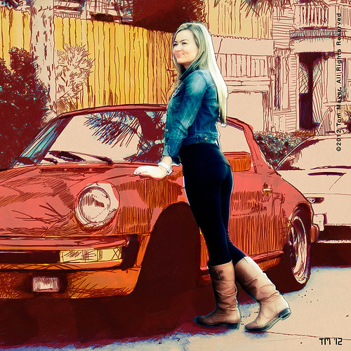 North Park, San Diego, Cutout Girl With Classic Volvo