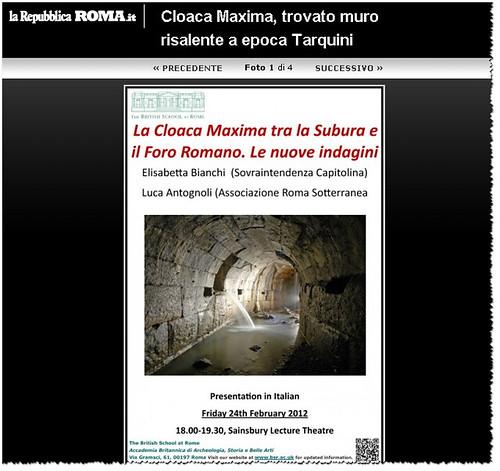 ROMA ARCHEOLOGICA - Foro Romano / Cloaca Maxima, trovato muro risalente a epoca Tarquini. LA REPUBBLICA (24/02/2012).  by Martin G. Conde
