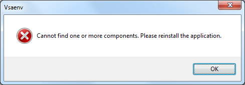 Vsaenv: Cannot find one or more components. Please reinstall the application.