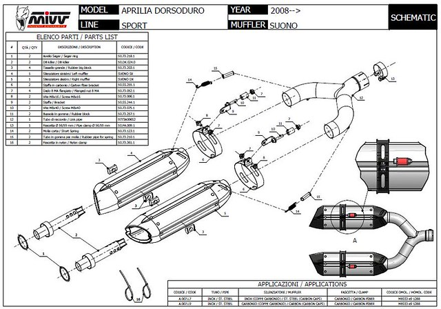 Exhaust MIVV SUONO CARBON APRILIA DORSODURO 750 2008 2012