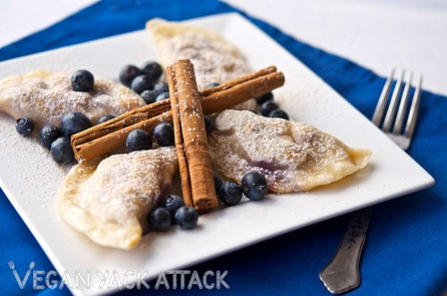Blueberry Yogurt Pierogi - This dish is great as a dessert or sweet snack, and is fun to make into a group activity! Vegan, Soy-free
