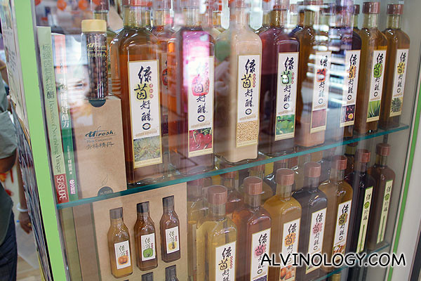 All kinds of flavoured vinegar