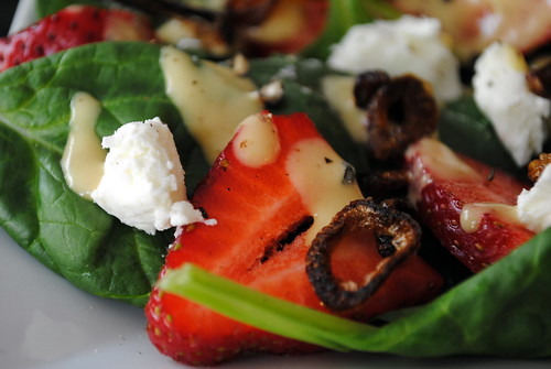 Strawberry & Goat Cheese Salad with Crispy Shallots