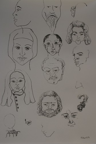 Sketching faces while watching TV