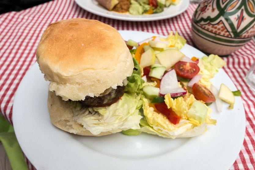 Burger from La Cantina in Essaouira, Morocco.