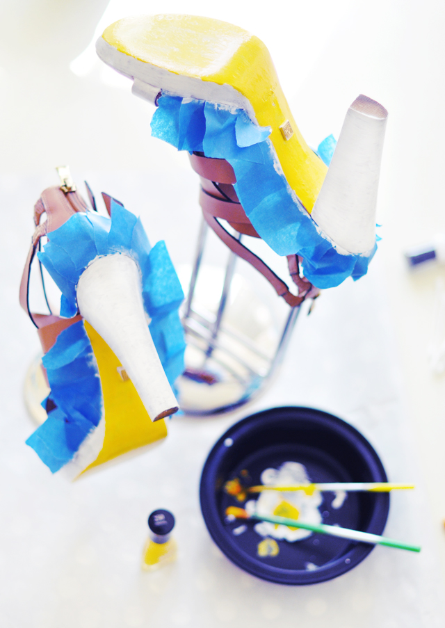 Neon Shoes DIY - paint leather shoes 6