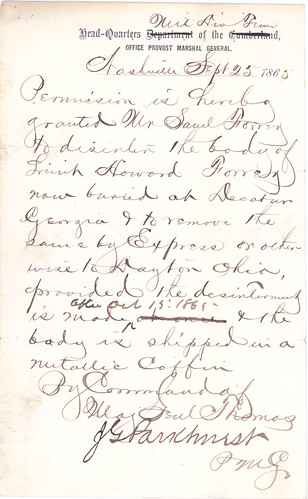 Permission to disinter Howard Forrer's body, 1865