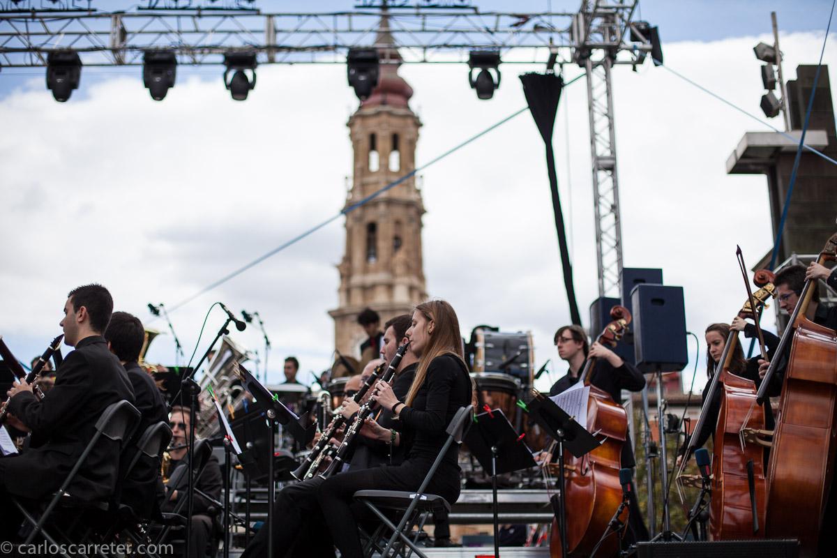 Música de calidad con la Banda sinfónica del conservatorio superior de Aragón en El Pilar
