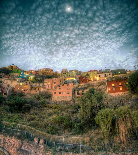 Earthtone Spanish houses on a hilltop in Barcelona