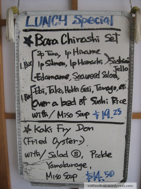 Lunch Menu Special Bara Chirashi