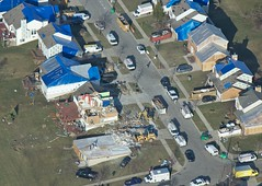 Aerial shot of damage in Dexter, MI 2012 tornado