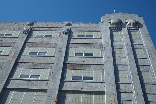 Detail of projections on the factory on Queens Street in Long Island City. Photograph by Ellen Brenna Dougherty.