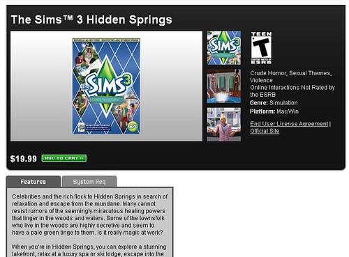 Hidden Springs Now Available on Origin!