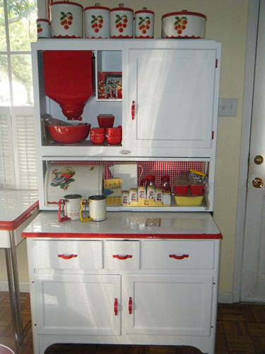 red and white vintage kitchen Sellers hoosier cabinet 2 - a photo on Flickriver
