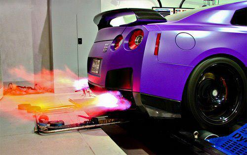 Car Spitting Flames Wallpaper Shooting Flames From Purple Gtr On Hre Wheels R35 Gt R
