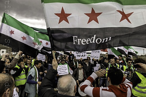 """Hundreds of activists in a """"Freedom Convoy"""" who tried to enter Syria from Turkey wave the pre-Baath flag adopted by the Syrian anti-regime opposition before being stopped at a border crossing outside the city of Kilis on March 15, 2012."""