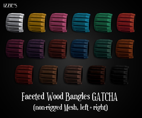 Faceted Wood Bangles (Gatcha)