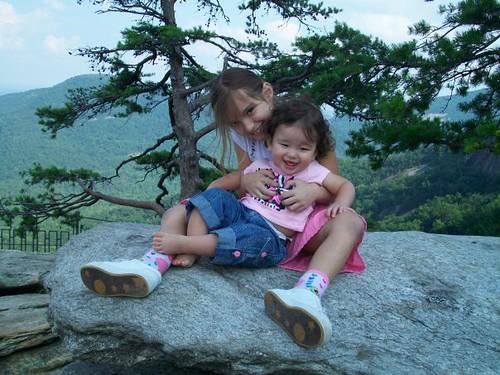 Elle & Lilah on Chimney Rock (NC)