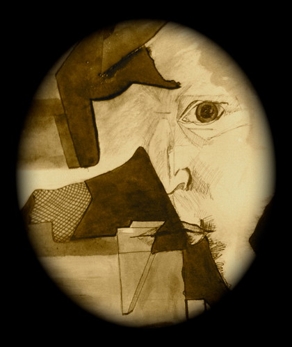 Mixed Media Artwork photographed in sepia