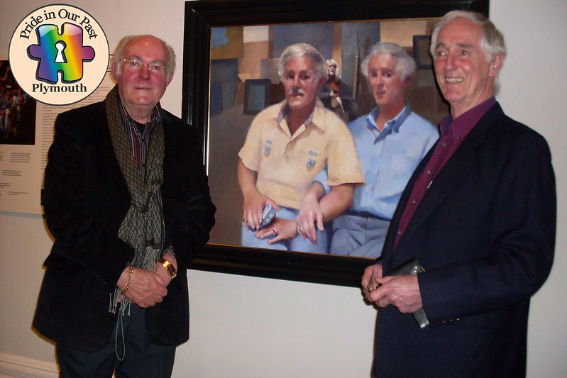 Ted and Don with their Lenkiewicz portrait at Plymouth City Museum 4th May 2012