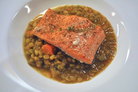 Roasted Salmon and Split Peas