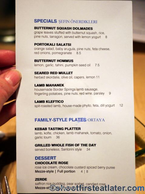 Zaytinya specials menu