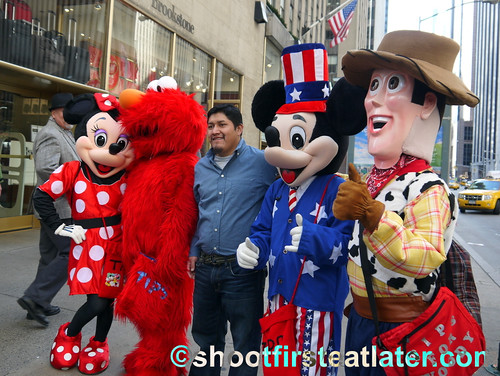 NYC- Minnie, Elmo, Mickey and Woody
