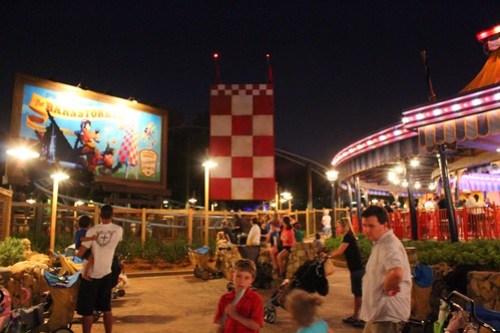 The Barnstormer at night - Storybook Circus